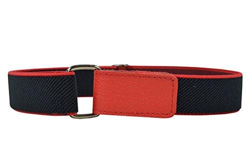 Kinder 1-6 Jahre Elastischer Gürtel, voll einstellbar mit Klettband - Schwarz / Rot (3 4 Klettband)