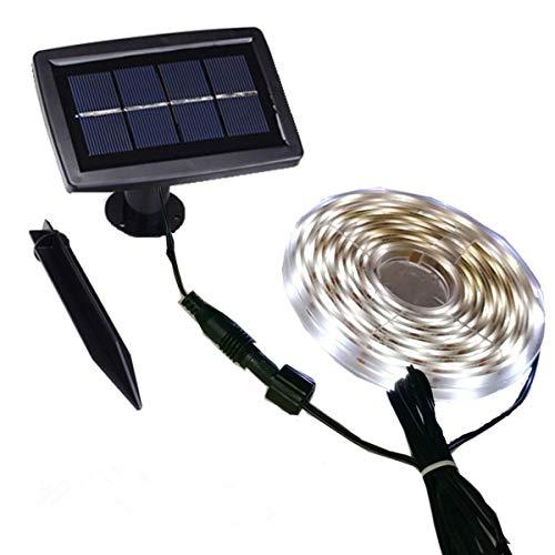 Solar LED Stripes, 5m Stripe außen, Lichterkette LED,Streifen,LED Leiste,Wasserdicht LED Lichtleiste,LED Bänder,2 Modi,Flexibel,Schneidbar,Selbstklebend,für Haus Deck Veranda Pool Wand Dekoration-weiß -
