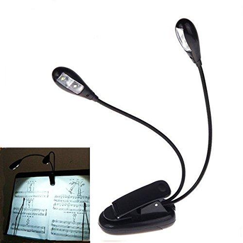 2 Dual Arms 4 LED flexibles Buchen Notenständer Clip On Licht Lampe Schwarz
