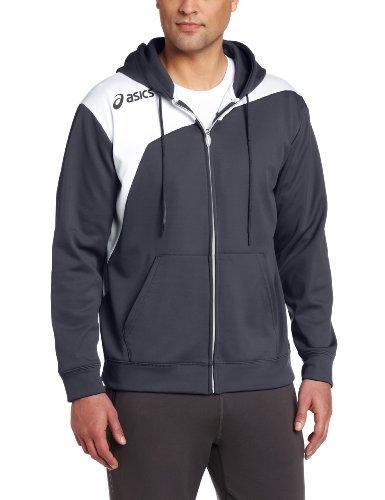 ASICS Logo Fleece Jacken, Herren, Graphite/White, Small - Asics Fleece
