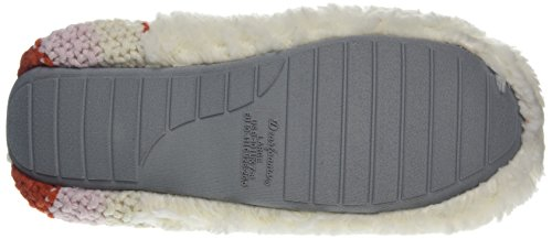 Dearfoams - Pile Scuff W/Sweater Knit Heel, Retro aperto Donna Off-White (Muslin)