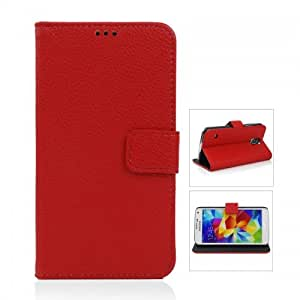 Litchi Pattern Wallet Protective Flip Case with Stand for Galaxy S5- Red