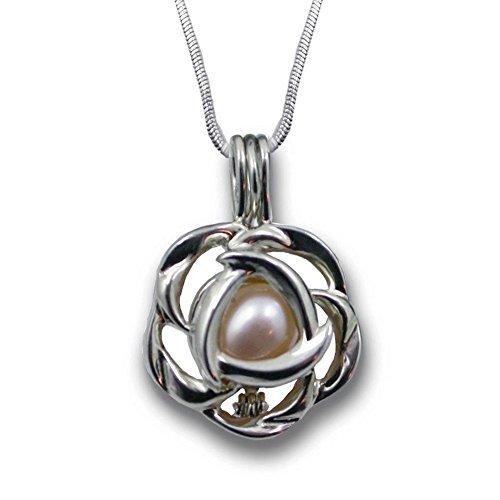 Pearlina Perlenkette mit Liebesperlen und silbernem Rosa Käfig mit Edelstahlkette kultiviert für Damen 18