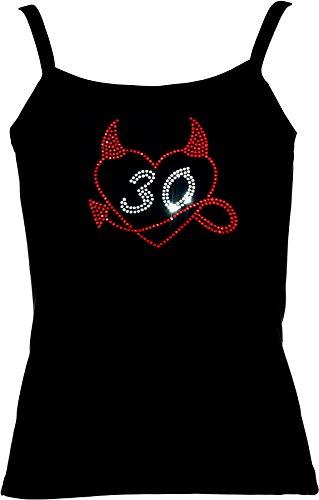 elegantes Shirt für Damen Strass zum 30. Geburtstag Herz mit Teufelshörnchen Strass Geburtstagsshirt Rot