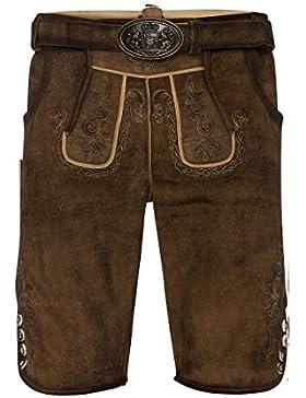 MOSER Trachten Lederhose kurz mit Gürtel braun gespeckt Albert 002662 von Maddox, Material Leder