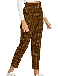 d4d9ae587f Vemubapis Pantalones A Cuadros De Cintura Alta con Cremallera Frontal para  Mujer