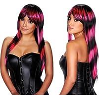 Pleasure Wigs Women's Stefani Wigs, One Size, Hot Pink/ Black