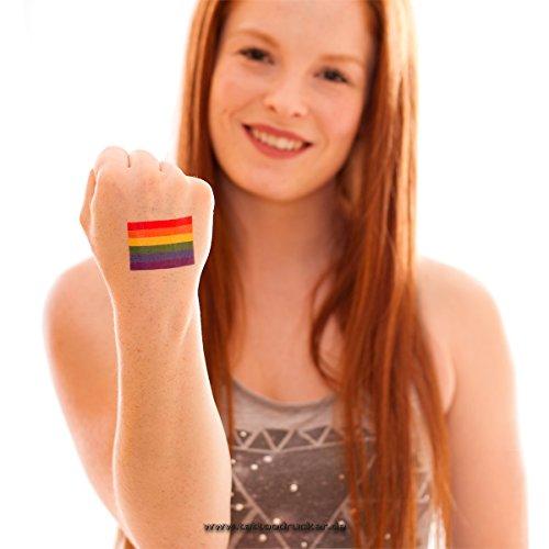 Flagge Material (25 x Regenbogen Tattoo Fahne - CSD LGBT Tattoo - Gay-Pride Tattoo - Gay Flag (25))