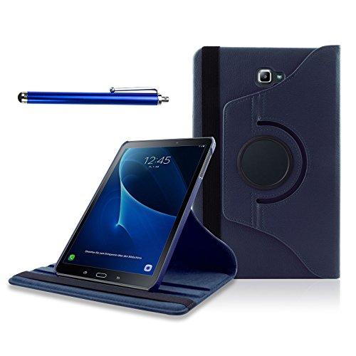Samsung Galaxy Tab A 10.1 Funda, SAVFY Giratoria 360 grados Stand PU Funda Flip Set ( con Auto Reposo / Activación Función ) + Protector de la Pantalla + Lápiz Optico para Samsung Galaxy Tab A 10.1 2016 SM-T580N / T585N, Azul