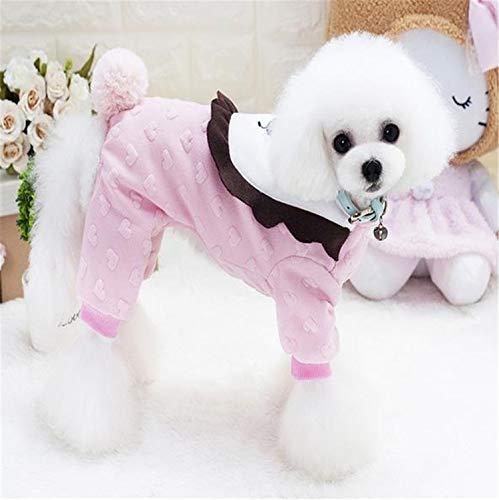 He-shop New Pet Clothes Kleiner Löwe Vierbeiniger Baumwollmantel Hund Herbst Winter Baumwolle Samt Warme Weste Geeignet Für Kleine Und Mittlere Hunde Mit Gelb/Rosa -