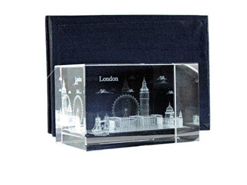 London Souvenir Laser Art Crystal - London Scene: Buckingham Palace, Big Ben, Tower Bridge, London Eye and St. Paul's - Horizontal 18900 by Laser Buckingham Crystal