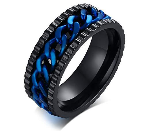 XUANPAI Zweifarbige Edelstahl Kette Spinner Band Ring Jahrestag Hochzeit Versprochen Ring Geschenk Für Männer, Größe 54