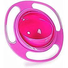 Tazón de fuente antirrobo universal del tazón de fuente del girocompás 360 grados lisos de la rotación giroscópico tazón de fuente para los cabritos del bebé Bobury (rojo)