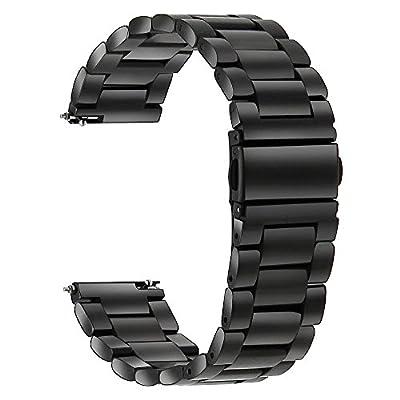 TRUMiRR 22mm Correa de reloj de acero inoxidable Correa de liberación rápida para Samsung Gear 2 R380 Neo R381 R382, Samsung Gear S3 Classic / Frontier, Moto 360 2 46mm, Pebble Time / Acero, Asus ZenWatch 1 2 Hombres, LG G Watch Urbana W150