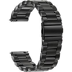 TRUMiRR Bracelet de Montre en Acier Inoxydable 22mm pour Samsung Gear S3 Classic Frontier, Gear 2 R380 R381 R382,Moto 360 2 46mm,Pebble Time,ASUS ZenWatch 1 2 Men,LG G Watch Urbane W150