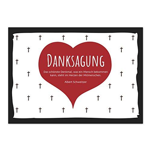 15 x Danksagung (Herz Rot mit Text) Trauerkarten mit 15 Umschlägen im Set - Danke nach Trauer, Beerdigung, Sterbefall, Friedhof, Begräbnis