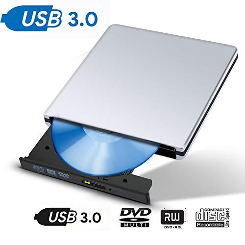 Mengdeno Externer DVD-/CD-Laufwerk-Brenner, USB 3.0, tragbar, ultradünn, CD-/DVD-RW-Brenner, Brenner für Laptop, Notebook, PC, Desktop-Computer, High-Speed-Datenübertragung (Silber)
