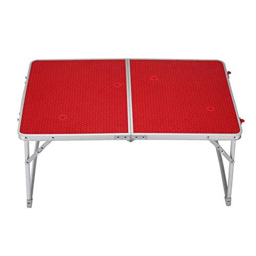 HY Table pliante extérieure en aluminium Table d'étude de ménage 64cm Rouge