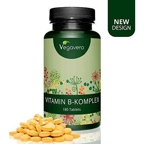 Vitamina B complesso Vegavero® | 180 compresse facili da deglutire | ARRICCHITO con Inositolo e Colina | Vegan