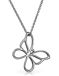 Bling Jewelry Plata Esterlina Collar Colgante Mariposa Abierto 16 en