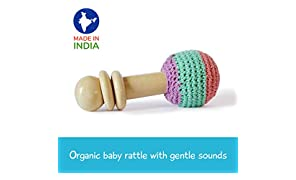 Shumee Wooden Non-Toxic Crochet Shaker Rattle Toy (0+ Years) - Discover Sounds and Explore Textures (Lilac)