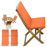 2-tlg Auflagen Set # orange # für Holzmöbel Gartenmöbel Sets Gartenstuhl Klappstuhl # 2x Sitz Auflagen mit Rückenteil