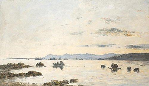 Das Museum Outlet–Golf Juan, Fischerboote auf die Bucht, 1893, gespannte Leinwand Galerie verpackt. 40,6x 50,8cm