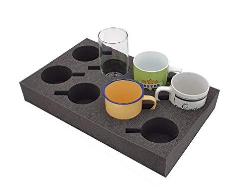 Tassenhalter Glashalter Gläserhalter Platz für bis zu 8 Stück - Schaumstoff für Camping Wohnwagen Wohnmobile Boote Schiffe (Tassenhalter XL)