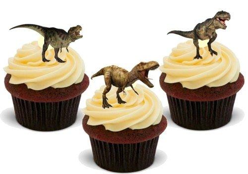 Dinosaurier T Rex Mix - 12 essbare hochwertige stehende Waffeln Karte Kuchen Toppers Dekorationen, Dinosaur T Rex Mix - 12 Edible Stand Up Premium Wafer Card Cake Toppers Decorations