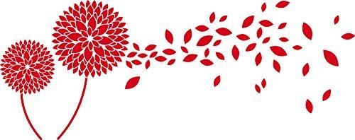 Tattoo adesivo da parete con cristalli Swarovski per Soggiorno fiori foglie fiori, Rosso chiaro, 101 x 40 cm