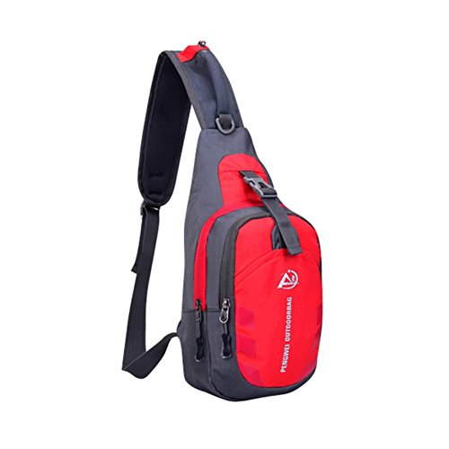 Reefa Unisex wasserdichte Sling Bag Chest Pack Beiläufige Cross Body Bag mit verstellbarem Schultergurt für Outdoor Sports Rot