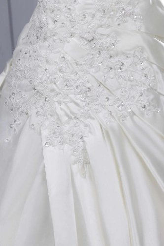 GEORGE BRIDE - Robe magnifique en satin brodee d'appliques avec une seule bretelle Ivoire