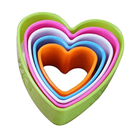 Bluelans® 5pcs Colourful Fondant Cake Cookie Sugarcraft Cutters Shapes Decorating Molds Moluds Tool Set Kitchen Supplies in Different Sizes (Heart