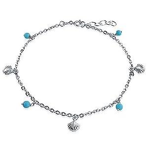 Bling Jewelry Meeresmultischicht Charm Muschel Aqua Blau Bett Baumeln Fußkettchen Armband Für Damen Silber 9-10 Zoll Einstellbar
