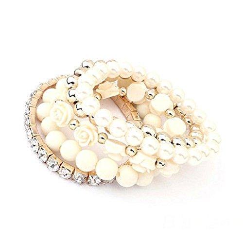 JaneDream Acrylic Rose Flower Round Faux Pearl Rhinestone Crystal Elastic Bracelet
