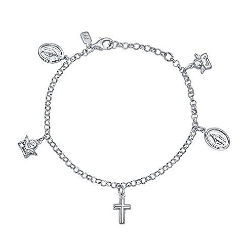 Bling Jewelry de la Croix d'argent 925 Bijoux fantaisie la Vierge Marie Ange Médaillon Bracelet