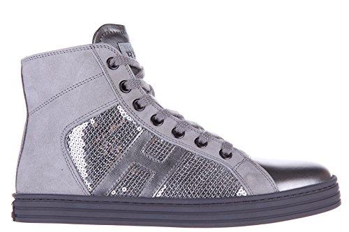 Hogan Rebel scarpe sneakers bambina alte pelle nuove r141 paillettes argento EU 28 HXC1410801221Q9998