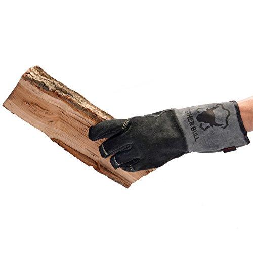 Handschuhe aus echtem Leder   geeignet für Kamin, Ofen, Grill & Backofen   Farbe schwarz/grau   Version Premium   Markenqualität von Temprix