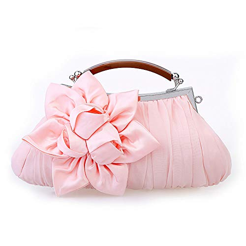 JSXL handtasche Damentaschen Satin Abendtasche Rüschen/Blume Rot/Pink / Khakihandtasche Handtaschen Tasche Clutches Koffer Umhängetasche