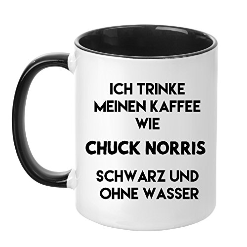 Tasse mit Spruch - Kaffee trinken wie Chuck Norris - beidseitig bedruckt - Teetasse - Kaffeetasse -...