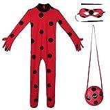 Freebily Conjunto de Disfraz Mariquita Cosply Role para Niña Body Maillot Lertardo + Máscara para los Ojos + Bolso Traje de Actuación Fiesta Rojo 7-8 Años