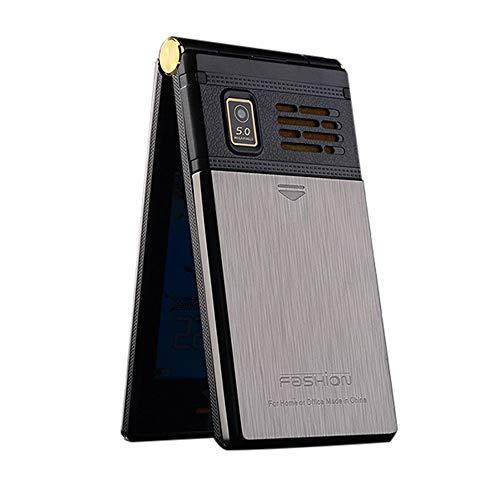 Wokee M2 Großtasten Mobiltelefon Klapphandy Dual Screen Dual SIM-Karte FM Senior Telefon Flip Handy für Alte Menschen,Kinder, Damenhandy (Grau) (Flip-telefon Dual-sim)