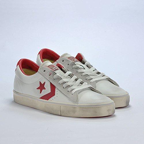 Converse Pro Leather Vulc Ox, Sneaker a Collo Basso Uomo, Bianco (White/Tango Red/Turtledove), 39 EU