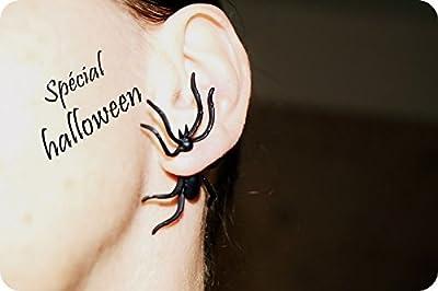 x1 Boucles d'oreilles araignée halloween, araignée noire Spider, Boucles D'oreilles Halloween 3D