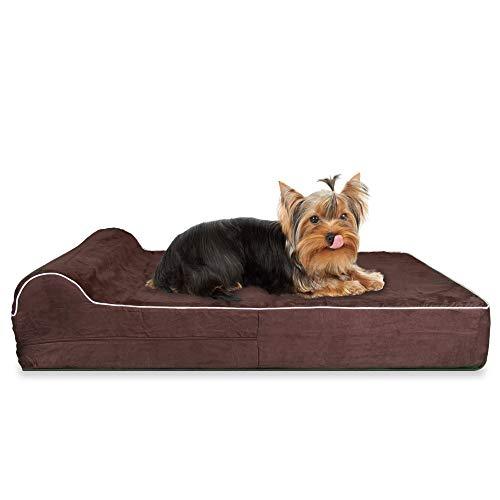 KOPEKS Mittleres Bett für Hunde und Katzen Kleine bis mittlere Haustiere Orthopädische Memory Foam-Matratze 63 x 50 x 10 cm plus Kissen - S - M - Braun