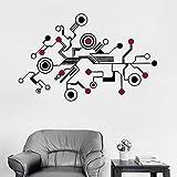 jiuyaomai 174x110cm Grande Tech Abstract Circuit Wall Sticker Decalcomanie Unico Modello Vinile Murale Ufficio Soggiorno Parete Interior Decor Nero 174cm x 110cm
