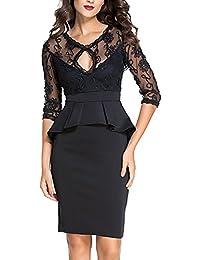 r-dessous figurbetontes tailliertes Damen Kleid Mini schwarz Etuikleid knielanges Cocktail Abendkleid Spitze