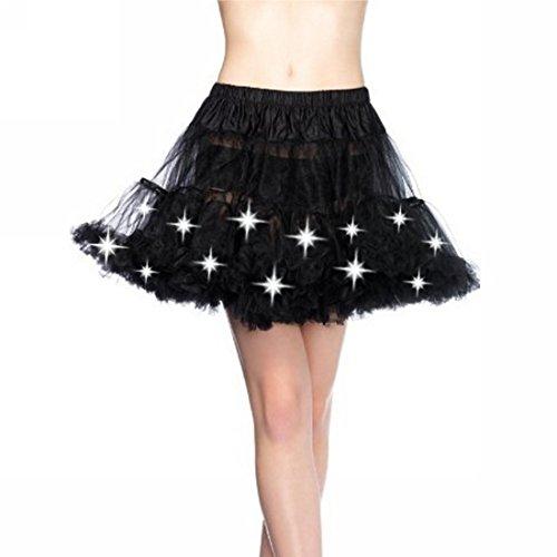 Sexy Schwarz oder weiß, teilweise mit LED-Licht Layered Petticoat / Ballettröckchen-Rock für Korsett / Halloween-Kostüm, Größe 36-44, Schwarz, 36-44