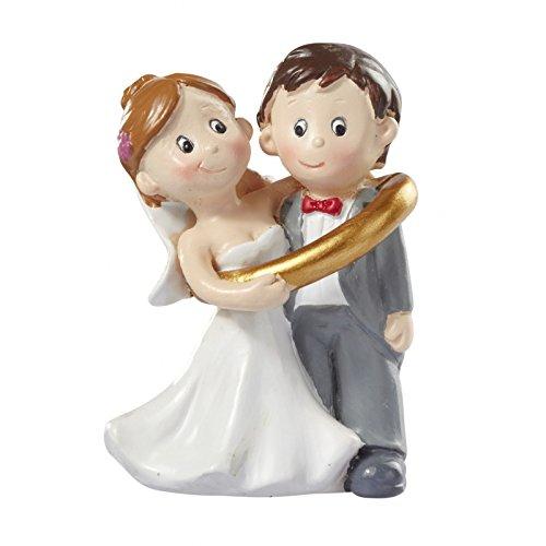 Figura de pareja de novia y novio unidos por anillo, para decoración de tarta de boda