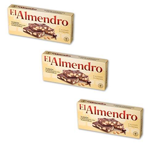 El Almendro - Das paket enthält 3 Turrón de Chocolate con almendras...